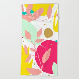Floral Illustration Beach Towel