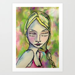 Watercolor Girl Be Thou My Vision Art Print
