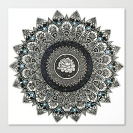 Black and White Flower Mandala with Blue Jewels Canvas Print