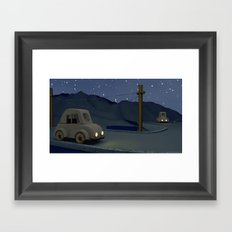Two cars racing for the prize Framed Art Print