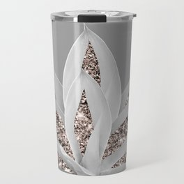 Gray Agave with Rose Gold Glitter #1 #shiny #tropical #decor #art #society6 Travel Mug