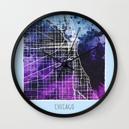 Chicago City Map/ Blue Wall Clock
