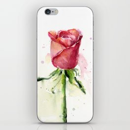 Rose Watercolor Red Flower Painting Floral Flowers iPhone Skin
