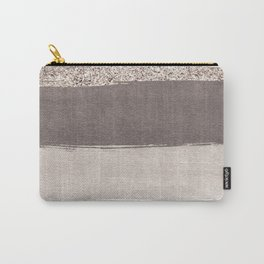 Blush tones watercolor ombre gold glitter brushstrokes Carry-All Pouch