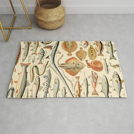 Vintage Fishing Diagram // Poissons by Adolphe Millot XL 19th Century Science Textbook Artwork Rug