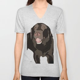 Labrador dog (black) Unisex V-Neck