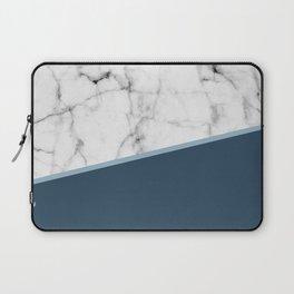 Real White Marble Half Ocean Sapphire Steel Blue Laptop Sleeve
