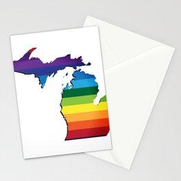 Michigan LGBT Rainbow Flag Gay Pride Stationery Cards
