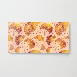 Autumn ginkgo leaves seamless pattern Metal Print