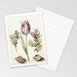 Maria Sibylla Merian Vintage Botanical Tulip and Myrtle Print Stationery Cards