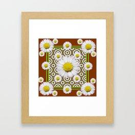Modern Coffee Brown Deco Style Shasta Daisies Art Framed Art Print