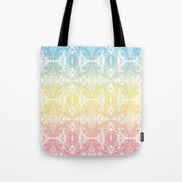 Color Gradient Floral Doodle Pattern Tote Bag