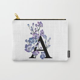 Letter 'A' Anemone Flower Typography Carry-All Pouch