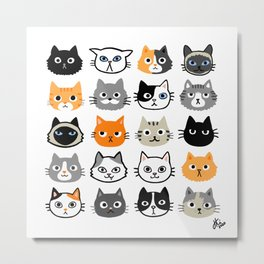 Cute Cats | Assorted Kitty Cat Faces | Fun Feline Drawings Metal Print