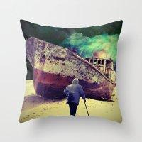 ship Throw Pillows featuring Ship by Cs025