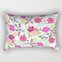Modern Pink Teal Yellow Hand Painted Floral Rectangular Pillow