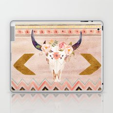 Bull Head Skull Boho Flowers Laptop & iPad Skin