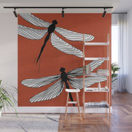 Dragonflies red Wall Mural