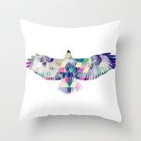 hawk Throw Pillows featuring Hawk by NKlein Design