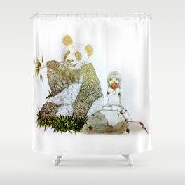 Panda // pencil Shower Curtain