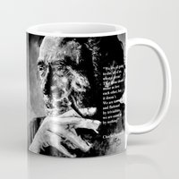 bukowski Mugs featuring Charles Bukowski - black - quote by ARTito