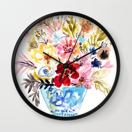 Floral Bouquet in a Blue Vase Wall Clock