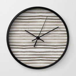 Simply Shibori Stripes Earth Brown on Lunar Gray Wall Clock