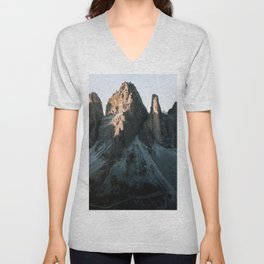 Tre Cime in the Dolomites Mountains at dusk - Landscape Photography Unisex V-Neck