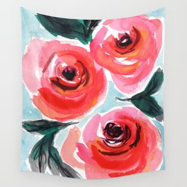 Shabby Chic Farmhouse Style Rose Floral Design Wall Tapestry