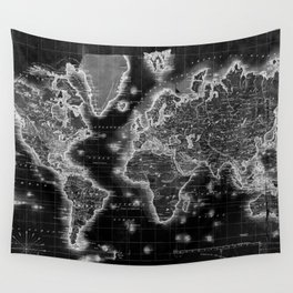 Black and White World Map (1840) Inverse Wall Tapestry