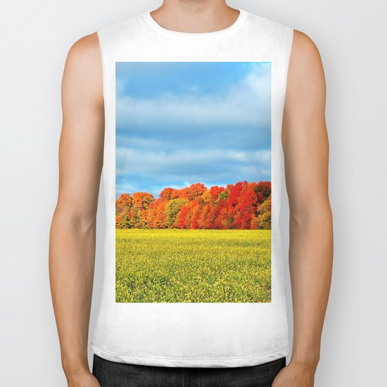 The Field and the Forest in October Biker Tank