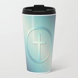Retro Cross Emblem Graphic Travel Mug