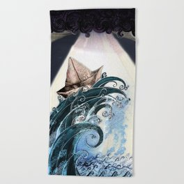 Origami Boat on a Wave Beach Towel