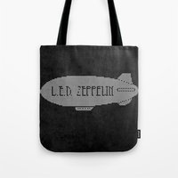 led zeppelin Tote Bags featuring L.E.D. Zeppelin by jerbing