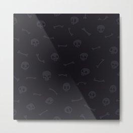 Gray Cartoon Skulls on Black Background Seamless Pattern Metal Print