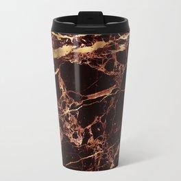 Marble, Masala Red + Faux Gold Veins Travel Mug