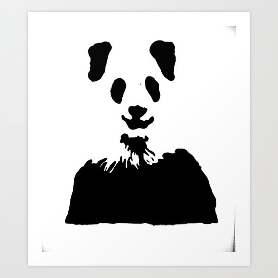 Pandas Blend into White Backgrounds Art Print