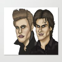 the vampire diaries Canvas Prints featuring Damon & Stefan Salvatore The Vampire Diaries Caricature Cartoon by GinjaNinja1801