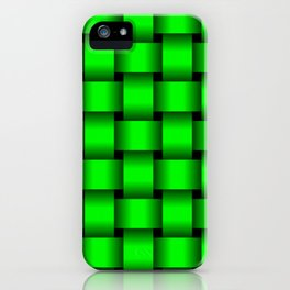 Large Neon Green Weave iPhone Case