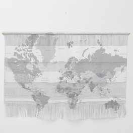 """Gray world map with cities, states and capitals, """"in the city"""" Wall Hanging"""