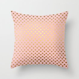 Gold and pink sparkling and shiny Hearts pattern Throw Pillow