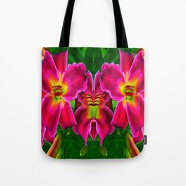 CERISE PINK LILY FLOWERS GREEN ABSTRACT Tote Bag