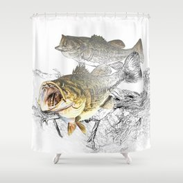 Largemouth Black Bass Fishing Art Shower Curtain