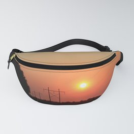 Kansas Sunset with Power Line and Poles Silhouettes Fanny Pack