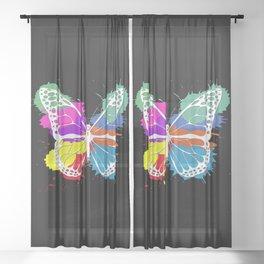 Grunge butterfly Sheer Curtain