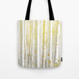 Gold Birch Forest Tote Bag