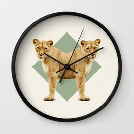 Double Animals: Lionesses Wall Clock
