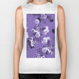 Modern trendy floral ultra violet purple pattern Biker Tank