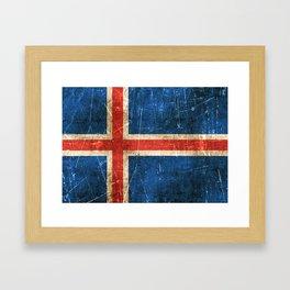 Vintage Aged and Scratched Icelandic Flag Framed Art Print