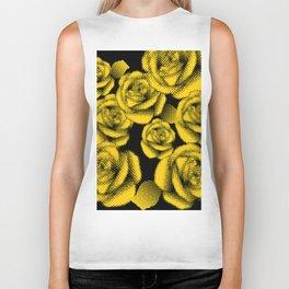 Yellow Halftone Roses Biker Tank
